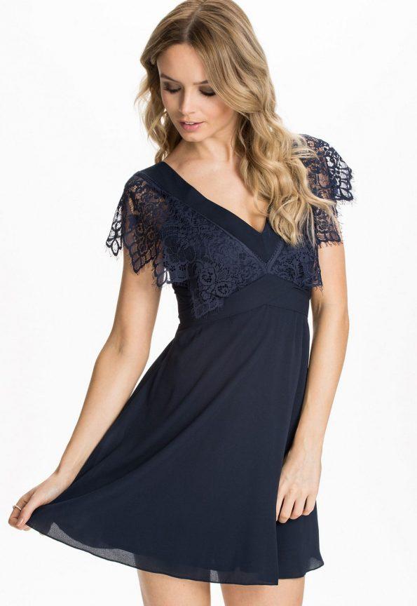 Blue-V-Neck-Lace-Chiffon-Skater-Dress-LC21841-1